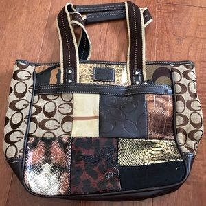 Coach Metallic Patchwork Animal Print Bag